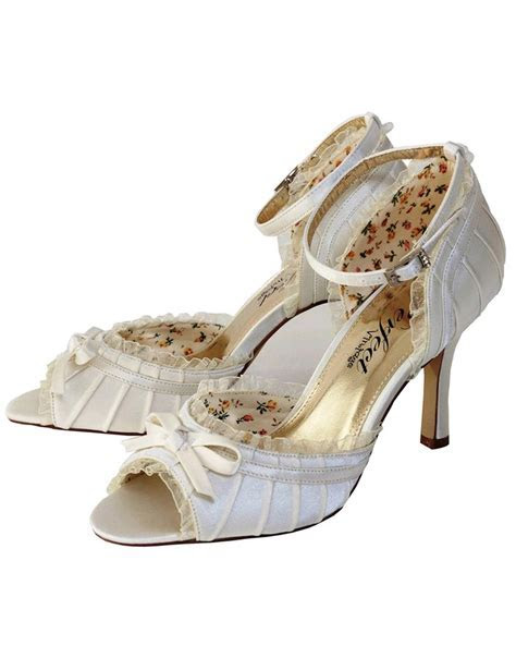 Carole   Vintage Peep Toe, Strap Bridal Shoe   Wedding Nites