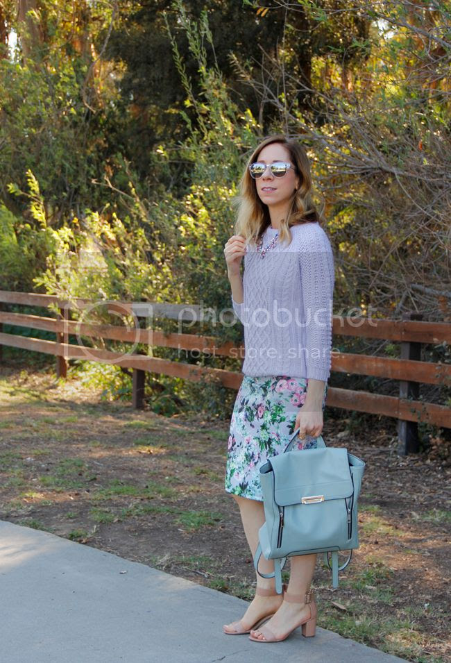 Fashion blogger The Key To Chic wears a Zara cable knit sweater with a Foreign Exchange floral pencil skirt and Mossimo mint green zipped backpack.
