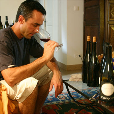 Oronce de Beler tasting 2006 in his office slash living room
