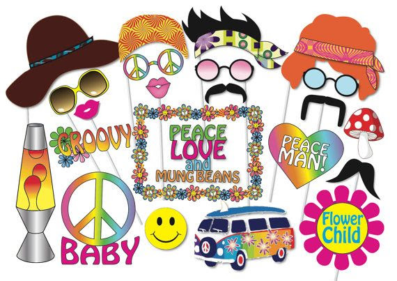 Hippie Party Photo booth Props Set - 24 Piece PRINTABLE - 60s ...