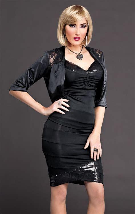 black bodycon dress  black satin bolero jacket women