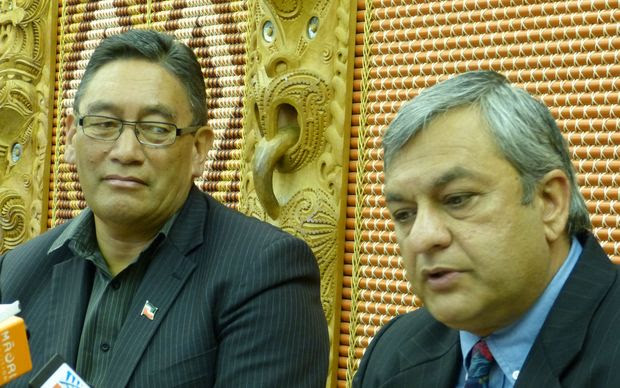 Mana Party leader Hone Harawira, left, and Internet Party chief executive Vikram Kumar.