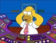 Homer Simpson alla sua postazione di lavoro nella centrale nucleare di Springfield