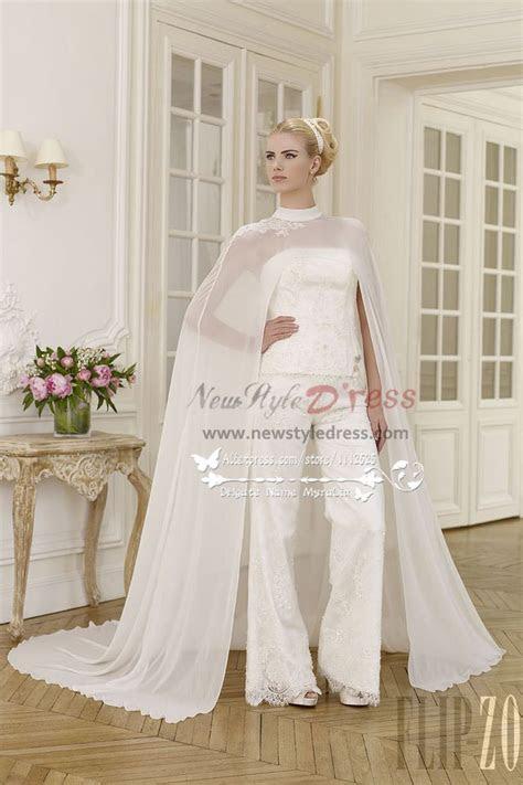 elegant wedding pant suit lace dress  chiffon cloak