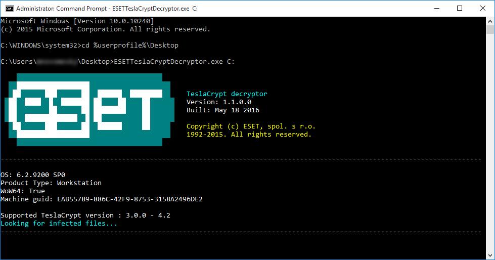 usar esetteslacryptor para descifrar los archivos cifrados de teslacrypt malware