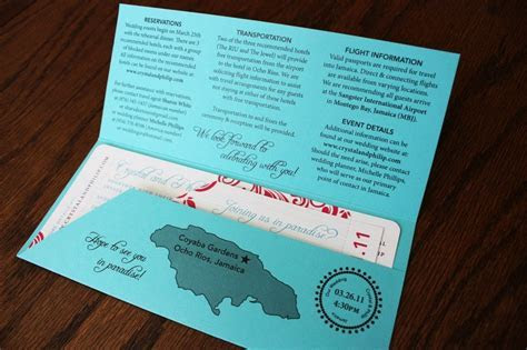 Turquoise and Pink Airline Ticket Wedding Invitations