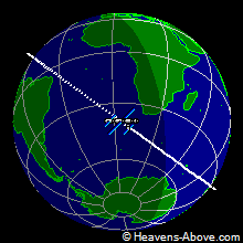 The position of the ISS at 6/20/2007 9:22:07 PM UTC