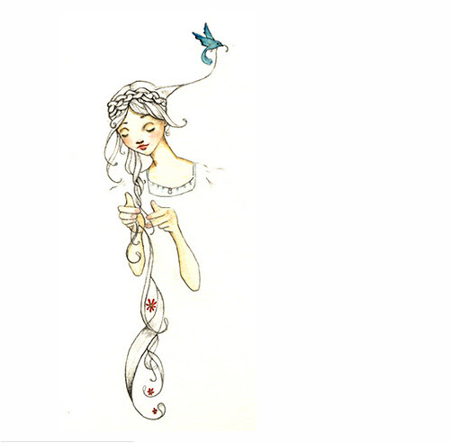 HeyAbigail, flickr, illustration, bird, rapunzel, watercolor, pencil, art, fairytale, drawing, hair, whimsical, beautiful