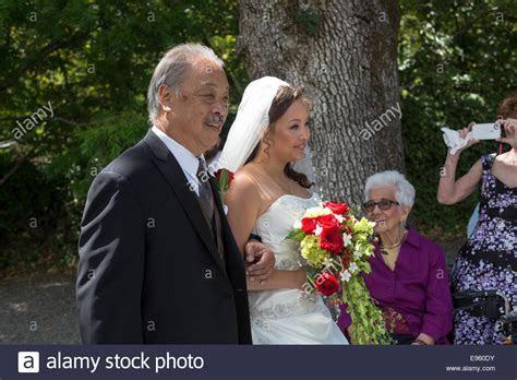 Asian American Bride White Wedding Stock Photos & Asian