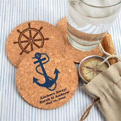 Personalized Round Cork Coaster Wedding Favors   Beach