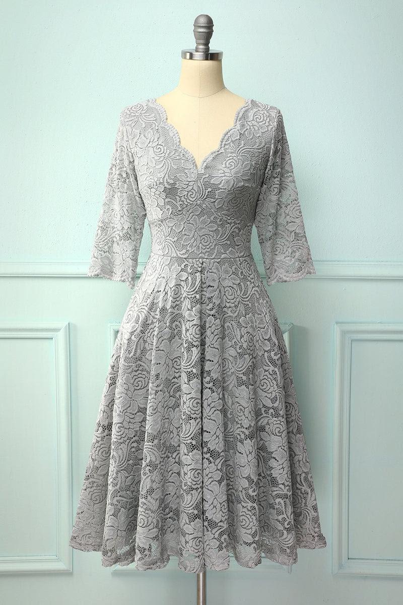 grauer 3/4 Ärmeln formelles kleid