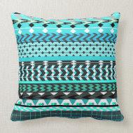 Aqua Aztec Pattern Pillow