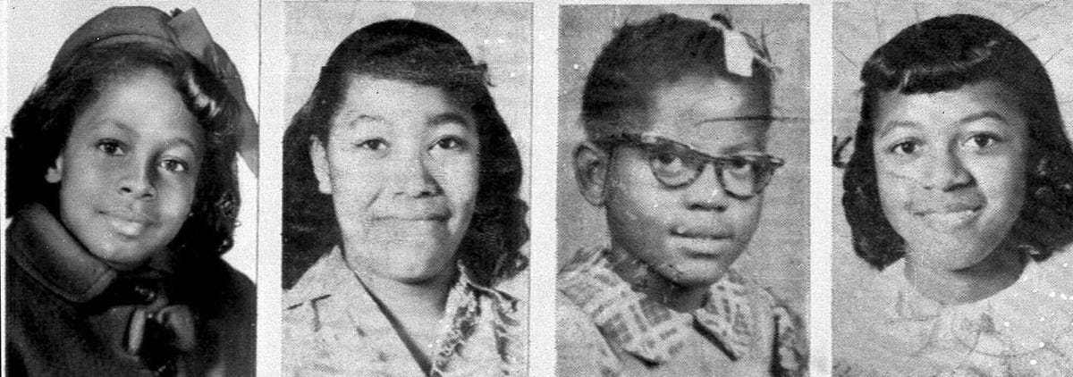 In 1963, Birmingham, Alabama had become the epicenter of racist violence in America. A KKK member bombed a Baptist church, killing four young girls in September. Denise McNair, 11; Carole Robertson, 14; Addie Mae Collins, 14; and Cynthia Wesley, 14; from left, died in the fire.