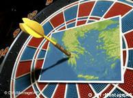 Dartpfeil steckt in einer Karte von Griechenland --- DW-Grafik: Peter Steinmetz 2010_03_08-Griechenland-im-Visier-der-Spekulanten