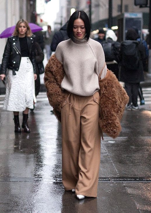 Le Fashion Blog NYFW Street Style Oatmeal Sweater Fur Jacket Wide Leg Trousers Via Style Caster