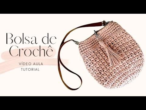 Crochê: Bolsa de Crochê Com Fio de Malha - Crochê Passo a Passo - Tutorial de Bolsa Fácil - Aula de Crochê