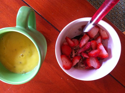 pineapple-kiwi smoothie, sunflower almond cereal by unglaubliche caitlin