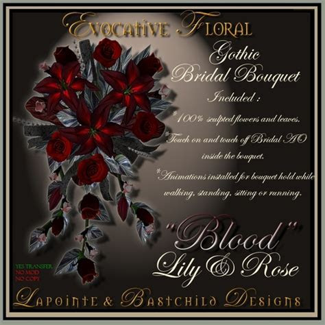 """Second Life Marketplace   Bridal Bouquet """"Lily&Rose"""