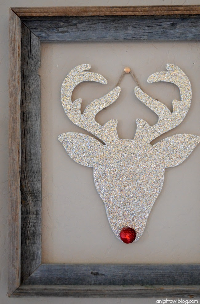 Rudolph the Glitter Reindeer Christmas Wall Art from Night Owl Blog | Friday Christmas Favorites at www.andersonandgrant.com