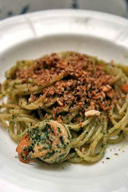 Prawn Crumble - Spaghettini aglio olio style with fresh prawns, anchovy crumble and parsley pesto