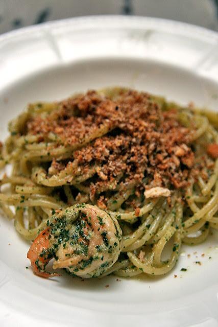 Prawn Crumble - Spaghettini aglio olio style with fresh prawns, anchovy crumble and parsley pesto