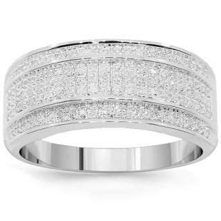 10K White Solid Gold Mens Diamond Wedding Band 0.38 Ctw (I