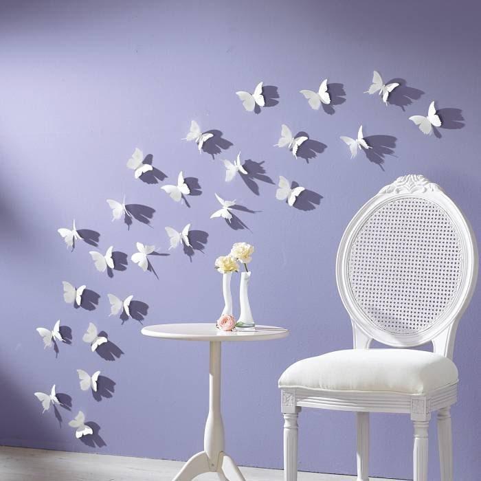 Украшение стен в доме бабочками из бумаги
