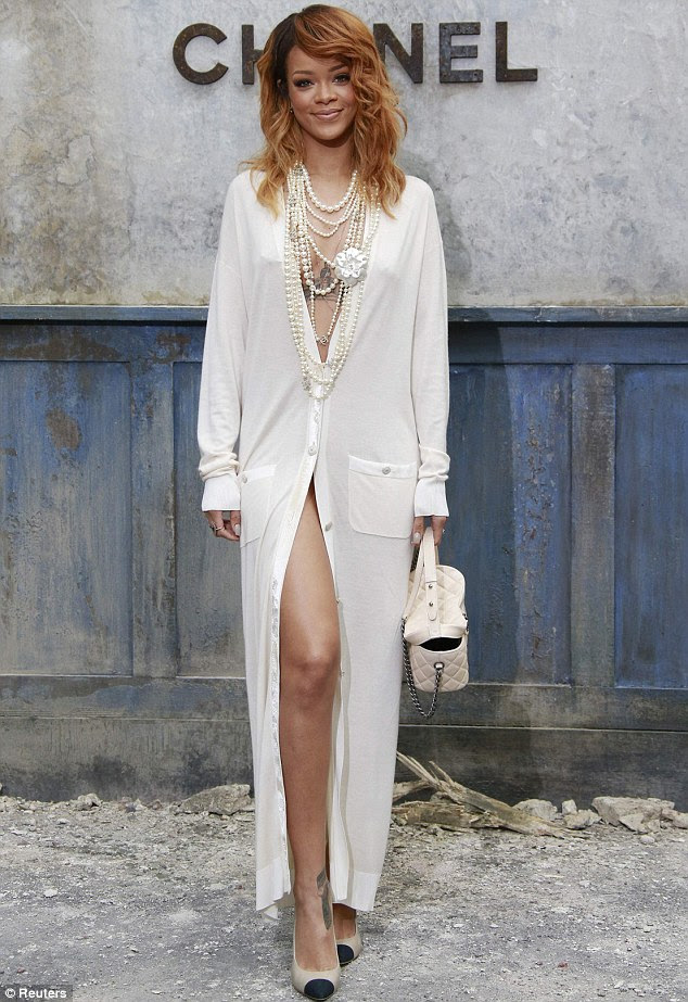 Looking good: Rihanna rocks up at the Chanel show in Paris