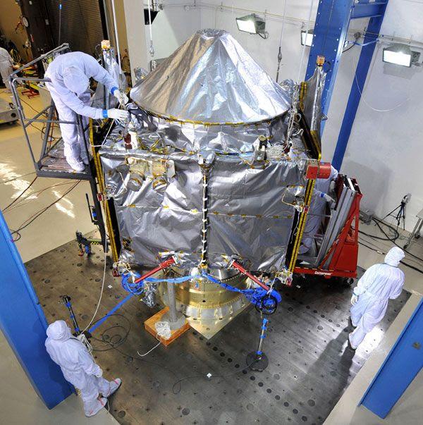 NASA's MAVEN spacecraft undergoes acoustics testing at the Lockheed Martin facility in Colorado.