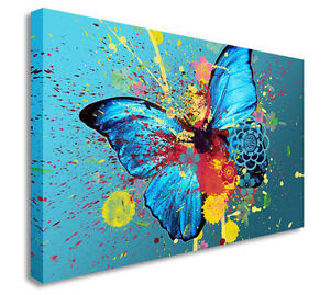 Butterfly Oil Painting Artwork Splash Wall Picture Canvas ...