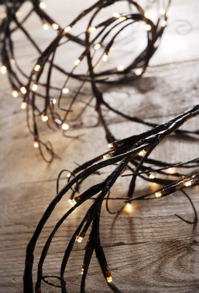 LED Branch Garland Lights Brown with 96 Warm White, 6 Feet