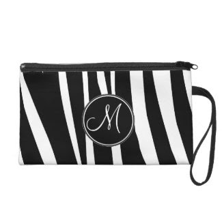 Black White Monogram Zebra Stripes Wristlet