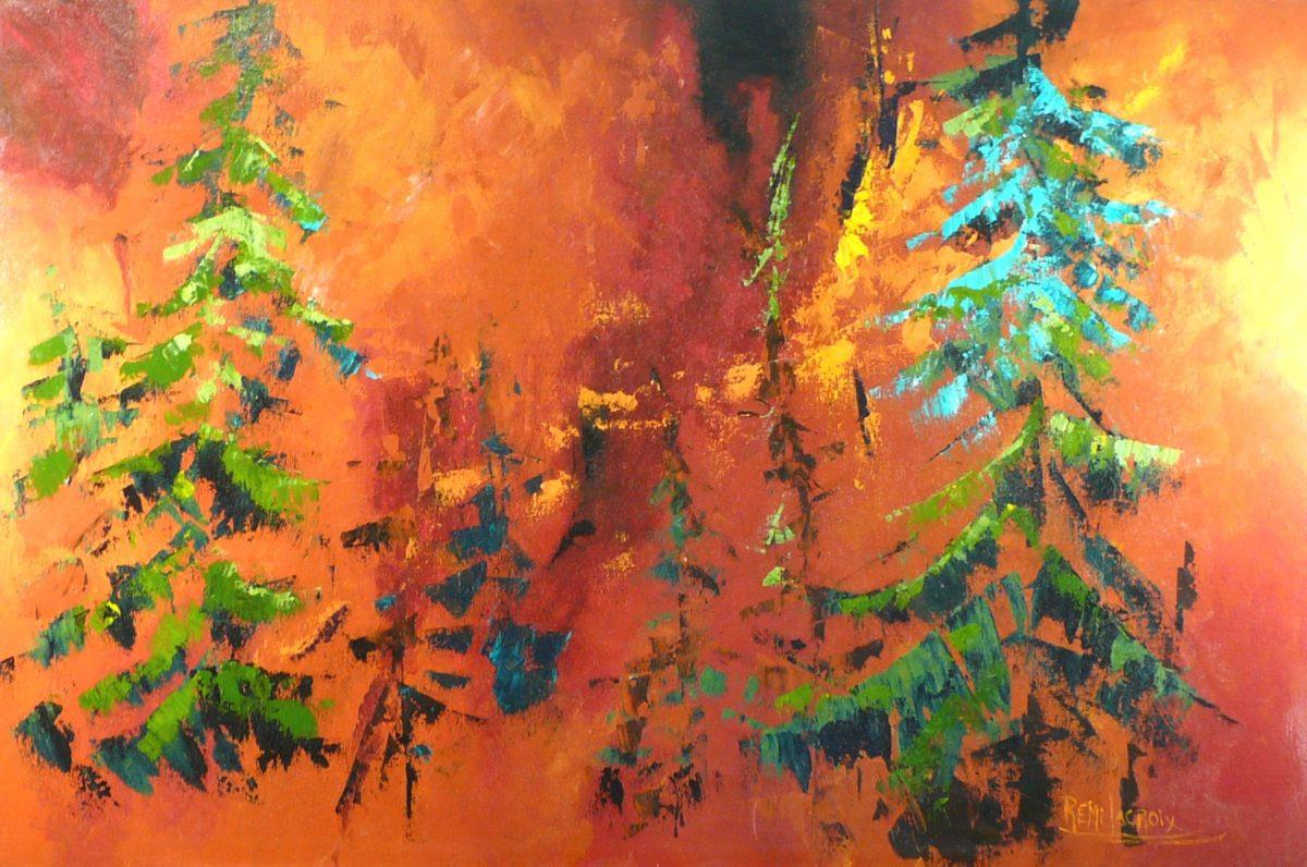Terre de feu no 6 - 24x36 po - Acrylique sur toile (Disponible)