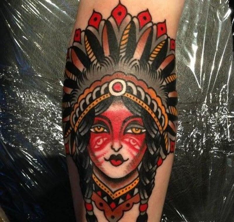 Old School Native American Girl Tattoo By Luke Jinks Tattoos Book