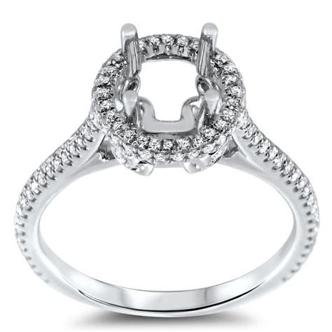 Round Halo Engagement Ring with Double Micro Pave for 1