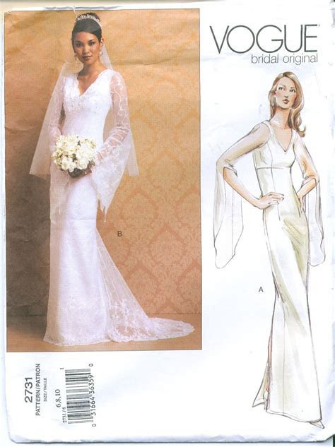 Vogue 2731 Bridal Wedding Gown Sewing Pattern Size 6 8 10