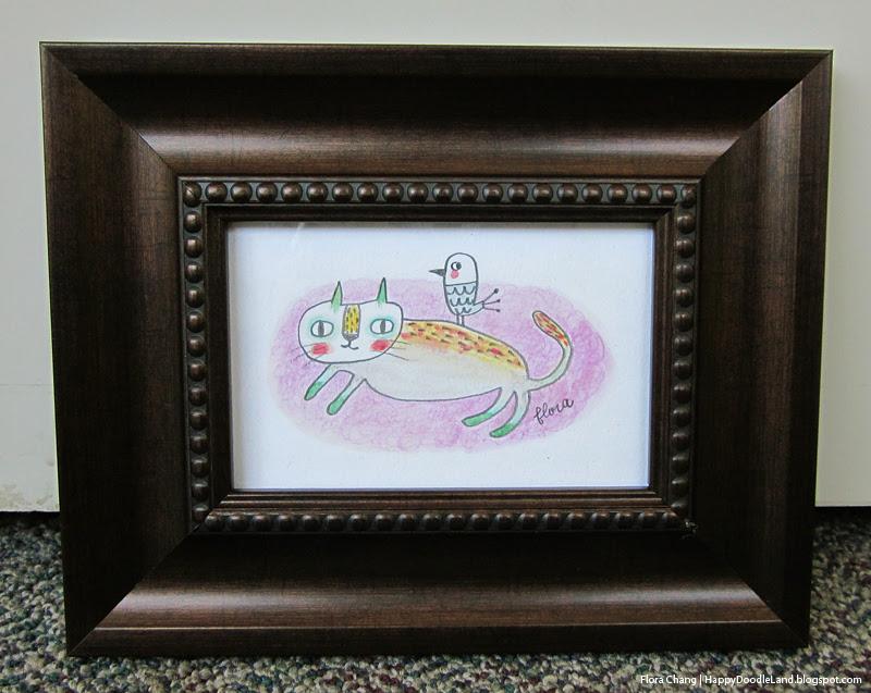 Cat and Bird Framed