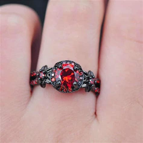 Black Charming With Ruby Promise Rings For Her   New