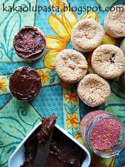 angel food cupcake with chocolate
