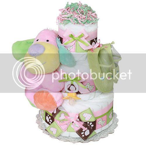 Pink Girl Puppy Diaper Cake