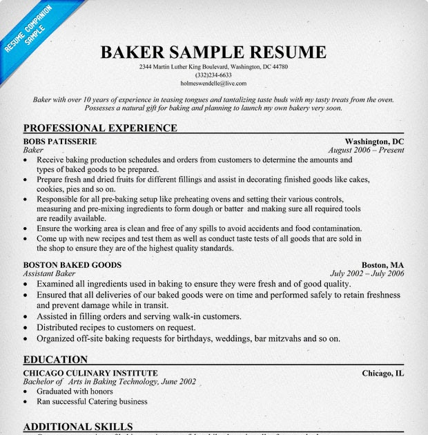 exle resume sle resume baker