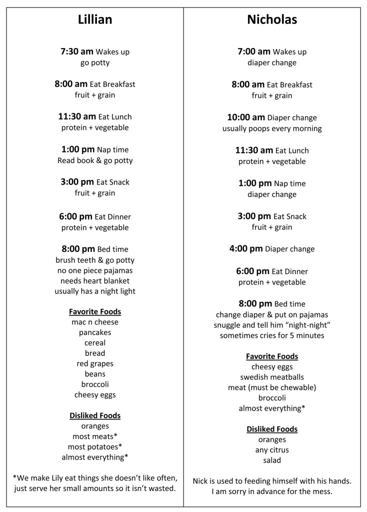 Daily Schedule For 1 Year Old | Daily Planner