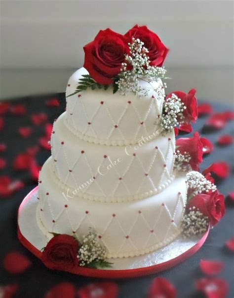 white wedding cake with red roses   Tier White Fondant