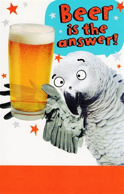 Funny Beer Is The Answer Birthday Card   Cards   Love Kates