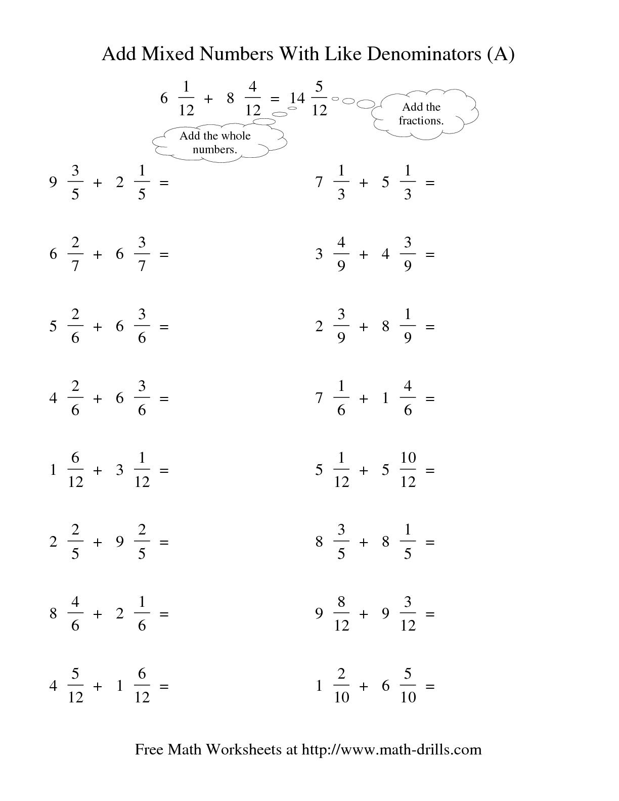 adding fractions with like denominators worksheets_460781