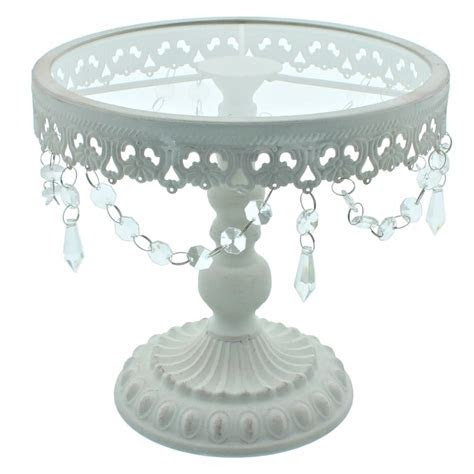 9.5 Inch White Shabby Chic Cake Stand   Vintage Glamour
