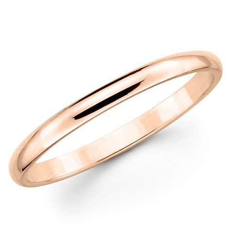10K Solid Rose Pink Gold 2mm Plain Men's and Women's