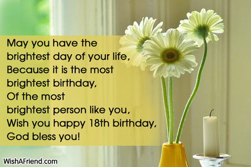 May You Have The Brightest Day 18th Birthday Wish