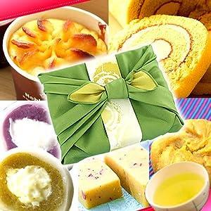 父の日プレゼント スイーツギフト 人気和菓子セット(竹籠入り風呂敷包)