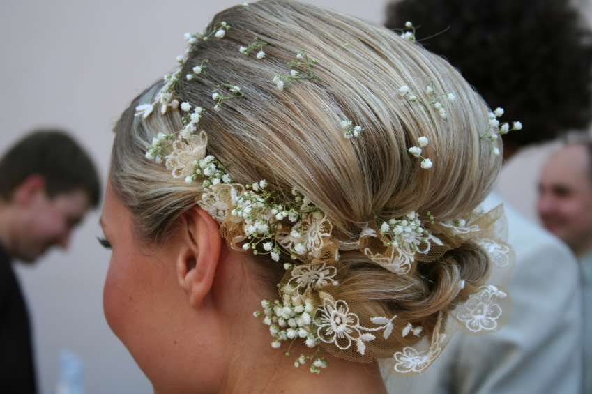 updo hairstyles with flowers